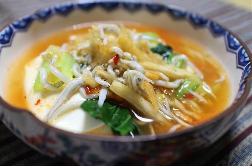 今日のキムチ料理レシピ:豆腐と小松菜のキムチあんかけ