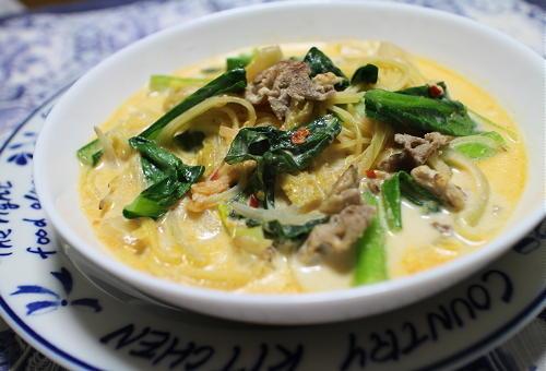 今日のキムチレシピ:小松菜とキムチのスープパスタ