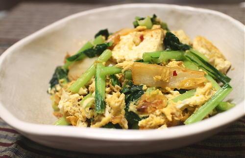 今日のキムチ料理レシピ:小松菜と豆腐とキムチの卵炒め