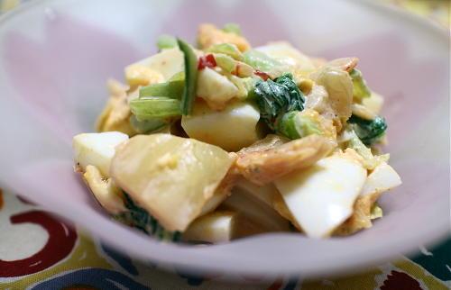 今日のキムチレシピ:小松菜とキムチの卵サラダ