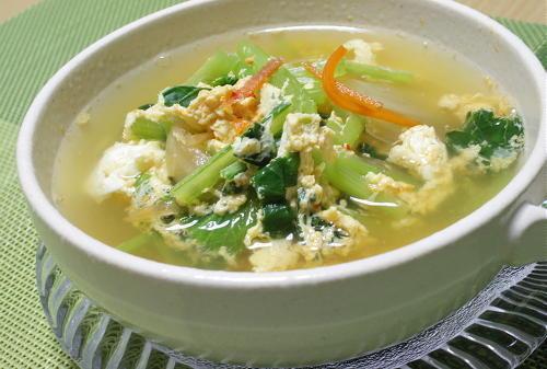 今日のキムチ料理レシピ:小松菜とキムチの卵スープ