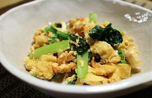 今日のキムチレシピ:小松菜とキムチの卵とじ