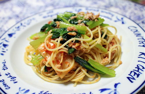 今日のキムチ料理レシピ:小松菜キムチパスタ