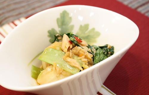 小松菜とツナのキムチいためレシピ