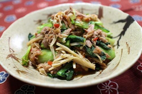 今日のキムチ料理レシピ:小松菜のツナキムチ蒸し