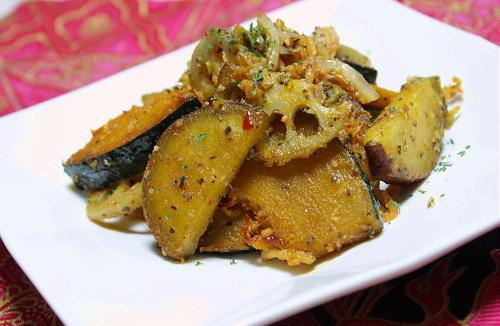 今日のキムチ料理レシピ:根菜のキムチバジル和え