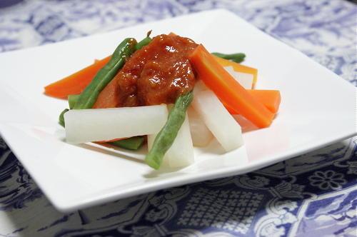 今日のキムチ料理レシピ:温野菜の甘辛味噌