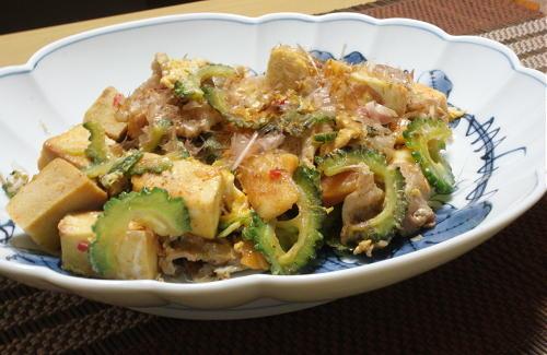 高野豆腐でキムチゴーヤチャンプルーレシピ