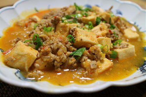 高野豆腐とキムチの素で作った麻婆豆腐レシピ