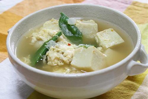 今日のキムチ料理レシピ:高野豆腐とキムチの卵スープ