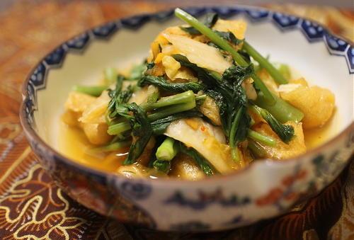今日のキムチ料理レシピ:空心菜のピリ辛煮びたし
