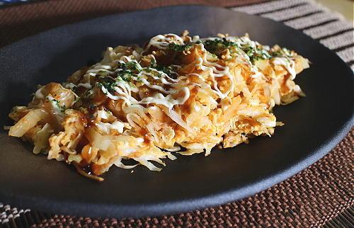 今日のキムチレシピ:キャベツとキムチの卵とじ