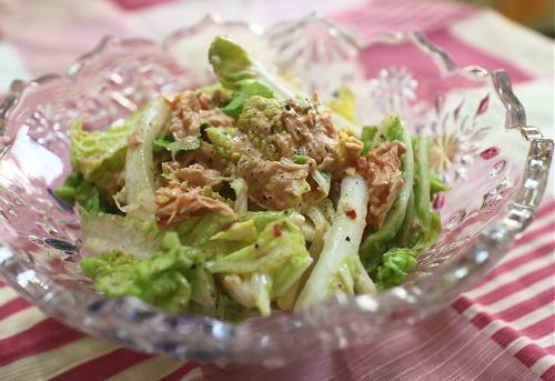 今日のキムチ料理レシピ:白菜のツナキムチサラダ