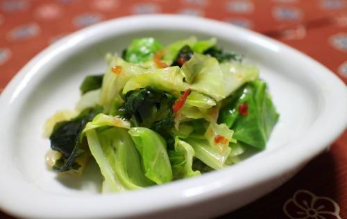 今日のキムチ料理レシピ:キャベツとわかめのピリ辛和え