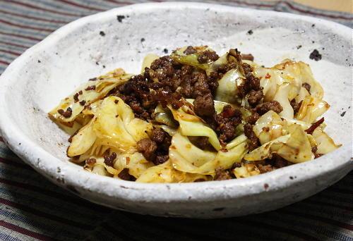 今日のキムチ料理レシピ:キャベツのピリ辛ひき肉炒め