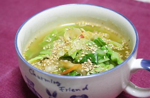 今日のキムチ料理レシピ:キムチ入りキャベツスープ