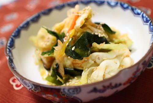 今日のキムチ料理レシピ:キャベツのピリ辛和え