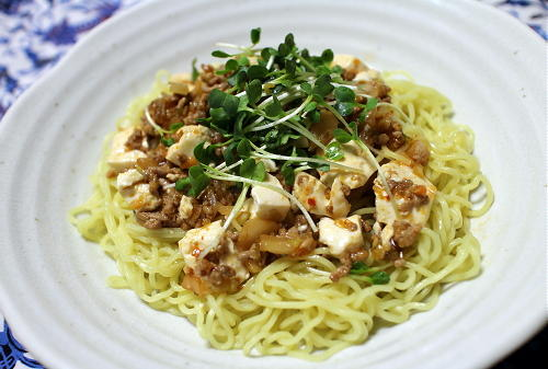 今日のキムチレシピ:麻婆豆腐風冷やし中華