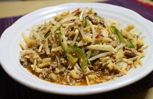 今日のキムチ料理レシピ:もやしのピリ辛ひき肉炒め