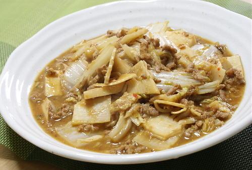 今日のキムチ料理レシピ:キムチの素de麻婆白菜