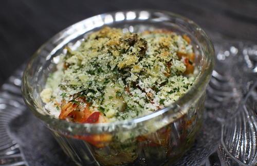 今日のキムチレシピ:マッシュルームとキムチのパン粉焼き