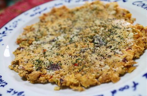 今日のキムチ料理レシピ:ミックスビーンズとキムチのチーズお焼き