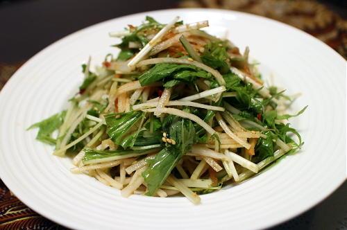 今日のキムチ料理レシピ:大根と水菜のキムチサラダ