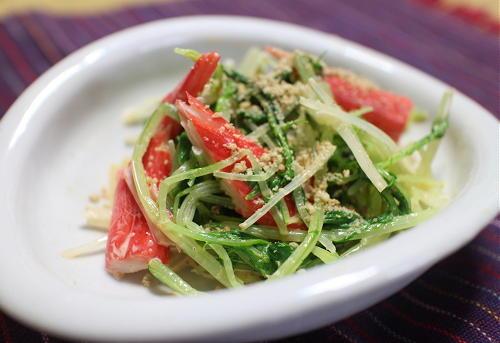 今日のキムチ料理レシピ:水菜カニカマのピリ辛マヨサラダ
