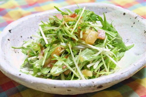 今日のキムチ料理レシピ:水菜のキムチドレッシングサラダ