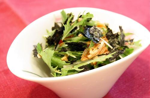 今日のキムチ料理レシピ:海苔入り水菜のキムチ和え