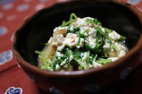 今日のキムチレシピ:豆苗のキムチ白和え