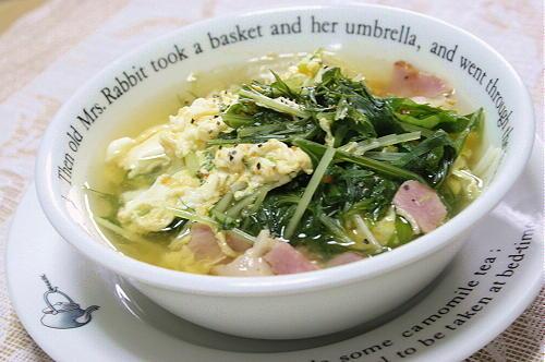 今日のキムチ料理レシピ:水菜たっぷりキムチスープ
