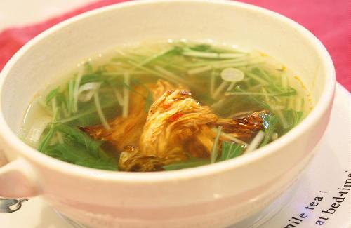 今日のキムチ料理レシピ:水菜と焼きキムチのスープ