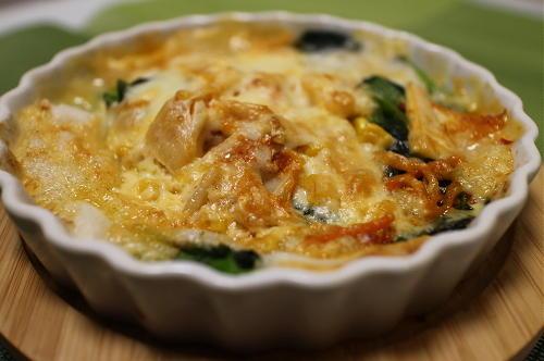 今日のキムチレシピ:お餅とほうれん草のキムチグラタン