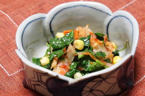 今日のキムチ料理レシピ:モロヘイヤのキムチ和え