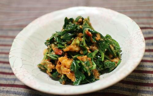 今日のキムチ料理レシピ:モロヘイヤのピリ辛くるみみそ和え