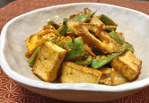 今日のキムチ料理レシピ:モロッコインゲン厚揚げのピリ辛マヨ炒め