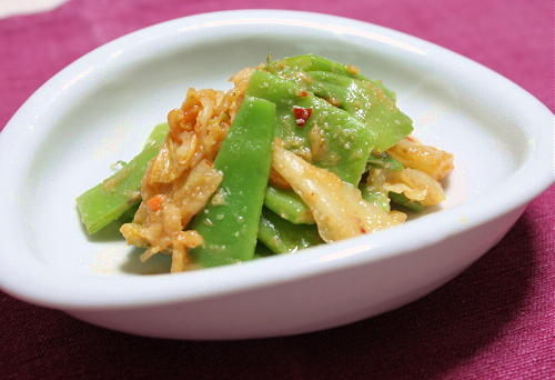 今日のキムチ料理レシピ:モロッコいんげんとキムチのごま味噌和え