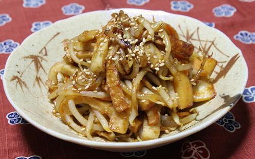 今日のキムチ料理レシピ:もやしのキムチ胡麻炒め