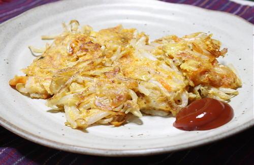 今日のキムチ料理レシピもやしとキムチのお焼き: