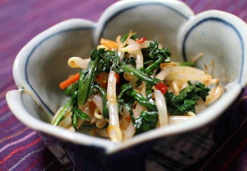 もやしと春菊のピリ辛和えレシピ
