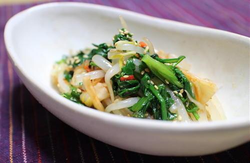 今日のキムチ料理レシピ:もやしと春菊のキムチ和え