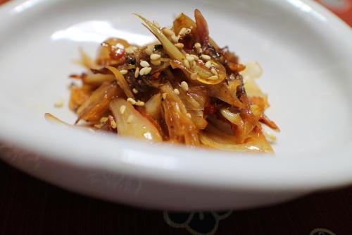 今日のキムチ料理レシピ:キムチらっきょうとみょうがの甘辛炒め