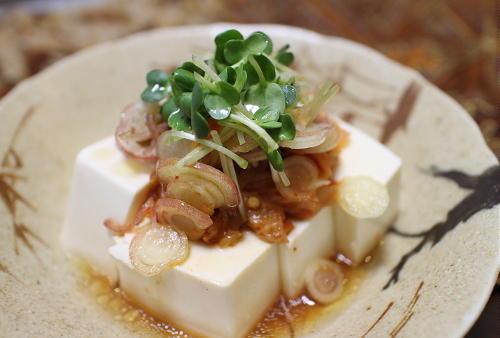今日のキムチレシピ:キムチとみょうがの冷ややっこ
