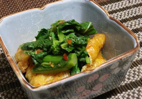 今日のキムチ料理レシピ:菜花と油揚げのピリ辛煮びたし