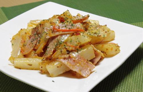 今日のキムチ料理レシピ:長いもとキムチのマスタード炒め