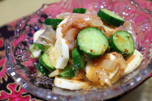 今日のキムチ料理レシピ長いもと生ハムのキムチマリネ