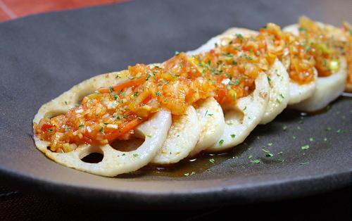レンコンと長芋のピリ辛ねぎソースがけレシピ