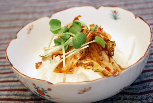 今日のキムチ料理レシピ:長いもの焼きキムチ和え