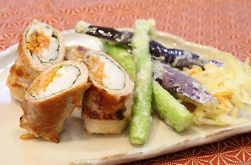 今日のキムチ料理レシピ:キムチと長芋の豚肉巻き